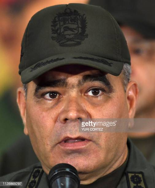 Venezuelan Defense Minister Vladimir Padrino gestures as he delivers a speech in Caracas on February 19 2019
