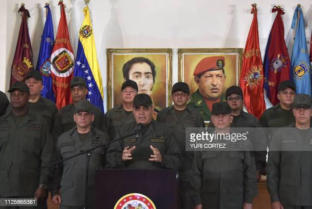 Venezuelan Defense Minister Vladimir Padrino gestures as he delivers a speech surrounded by military men at the Defense Ministry building in Fuerte...