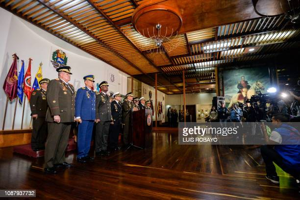 Venezuelan Defense Minister Vladimir Padrino Lopez delivers a press conference in Caracas along with members of the top military leadership in...