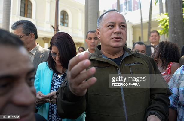 Venezuelan deputy and former president of the National Assembly Diosdado Cabello speaks to the press in Caracas on January 12 2016 Venezuela's...