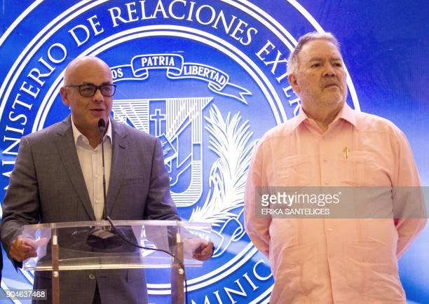 Venezuelan diplomat Roy Chaderton and the leader of the progovernment United Socialist Party of Venezuela Jorge Rodriguez give a press conference...