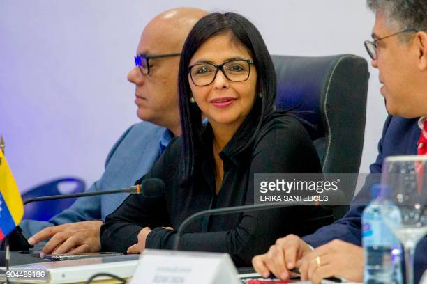 Venezuelan Education Minister Elias Jaua the president of the Venezuelan Constituent Assembly Delcy Rodriguez and the mayor of Libertador...
