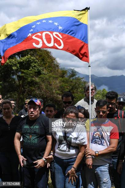 ESTE CARACAS MIRANDA VENEZUELA A venezuelan flag with SOS printed on it seen at the cemetery Remembrance service held in Caracas in honor of those...