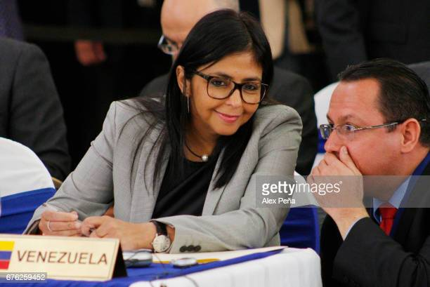 Venezuelan Foreign Minister Delcy Rodriguez smiles during Meeting of Foreign Ministers and representatives of the 33 countries of the Community of...