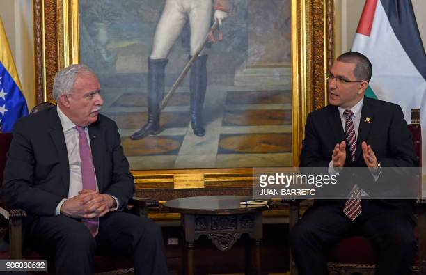 Venezuelan Foreign Minister Jorge Arreaza and the Foreign Minister of the Palestinian Authority Riyad alMalk speak during a meeting at the Foreign...