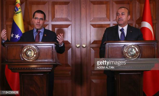 Venezuelan Foreign Minister Jorge Arreaza and Turkish Foreign Minister Mevlut Cavusoglu hold a joint press conference following their committee...