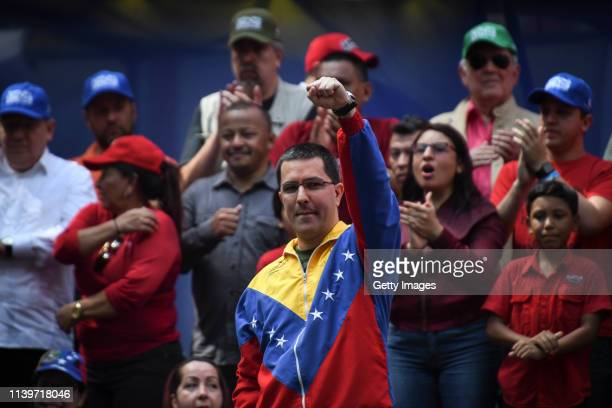 Venezuelan Foreign Minister Jorge Arreaza gestures during a demonstration to back up the decision of ruling PSUV to leave OAS on April 27 2019 in...
