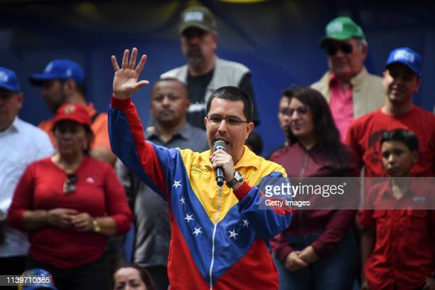 Venezuelan Foreign Minister Jorge Arreaza gives a speech during a demonstration to back up the decision of ruling PSUV to leave OAS on April 27 2019...