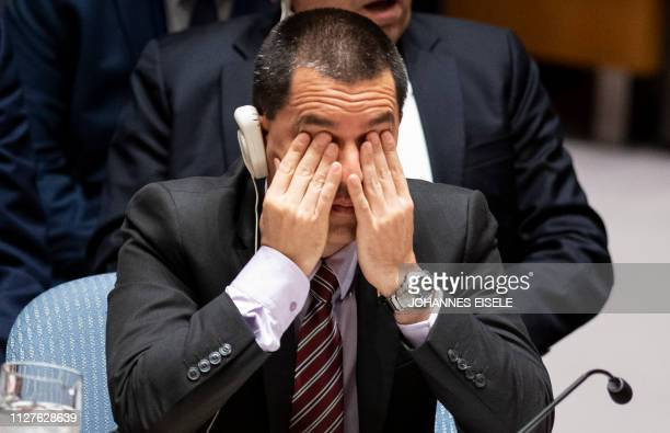 Venezuelan Foreign Minister Jorge Arreaza listens as the United Nations Security Council meets on Venezuela February 26 at the United Nations in New...