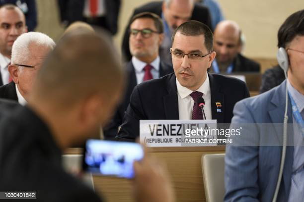 Venezuelan Foreign Minister Jorge Arreaza looks on as he delivers a speech during the opening day of the 39th United Nations Council of Human Rights...