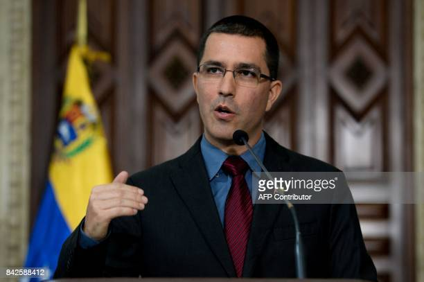 Venezuelan Foreign Minister Jorge Arreaza offers a press conference after holding a meeting with the ambassadors of Germany Italy Spain and the...