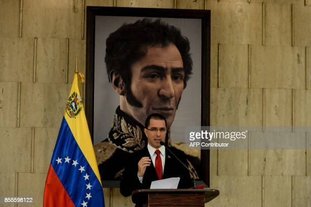 Venezuelan Foreign Minister Jorge Arreaza offers a press conference at the Foreign Ministry in Caracas on September 29 2017 A group of 63 countries...