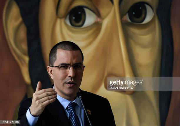 Venezuelan Foreign Minister Jorge Arreaza speaks before a meeting with diplomats in Caracas on November 14 2017 The government of Nicolas Maduro on...