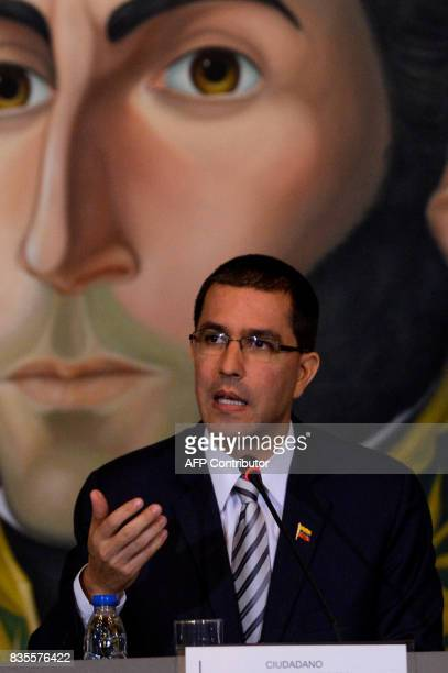 Venezuelan Foreign Minister Jorge Arreaza speaks during a meeting with members of some diplomatic corps at the Foreign Ministry in Caracas on August...