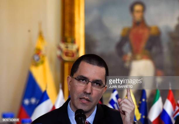 Venezuelan Foreign Minister Jorge Arreaza speaks during a meeting with ambassadors and representatives of the European Union in Caracas on January 24...