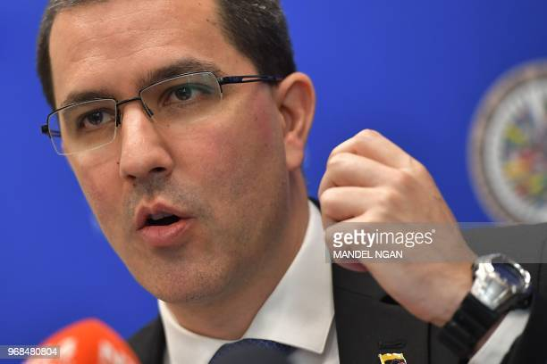 Venezuelan Foreign Minister Jorge Arreaza speaks during a press conference at the Organization of American States on June 6 2018 in Washington DC