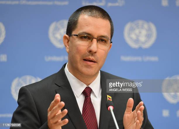 Venezuelan Foreign Minister Jorge Arreaza speaks during a press briefing regarding the situation in Venezuela on February 22 2019 at the United...