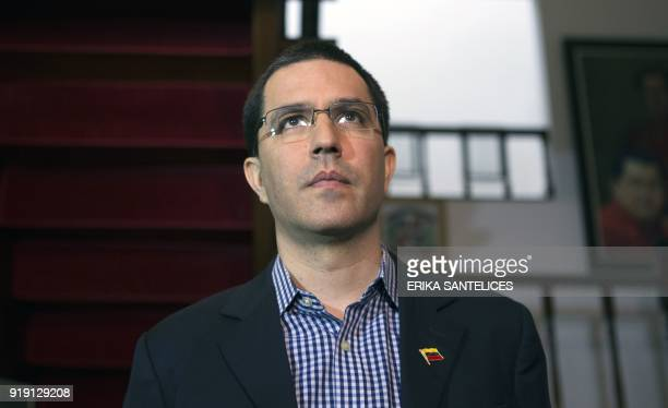 Venezuelan Foreign Minister Jorge Arreaza takes part in an event at the Venezuelan Embassy in Santo Domingo Dominican Republic on February 16 2018...