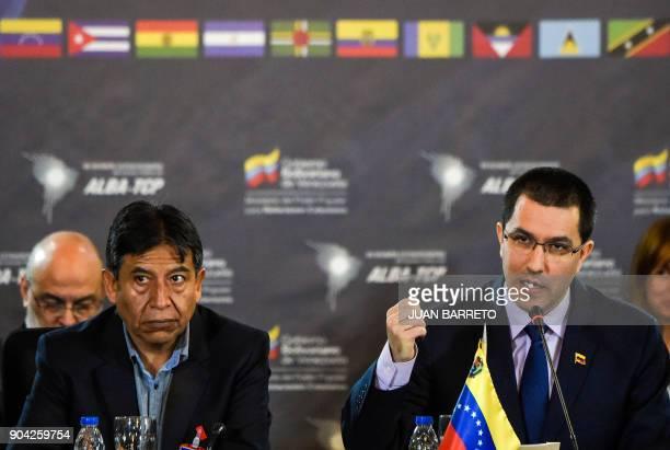 Venezuelan Foreign Minister Jorge Arreaza talks next to David Choquehuanca executive secretary of the ALBATCP during an extraordinary meeting in...