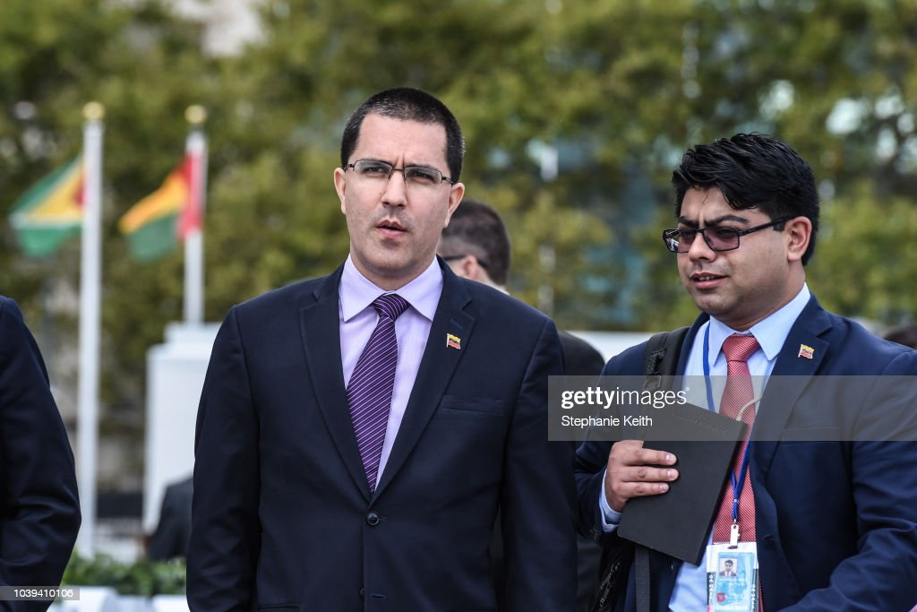 Venezuelan Foreign Minister Jorge Arreaza Addresses Media At U.N.