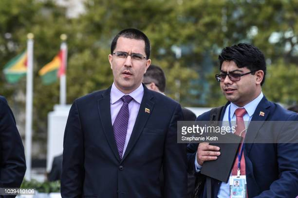 Venezuelan Foreign Minister Jorge Arreaza addresses the media at the United Nations during the United Nations General Assembly on September 24 2018...