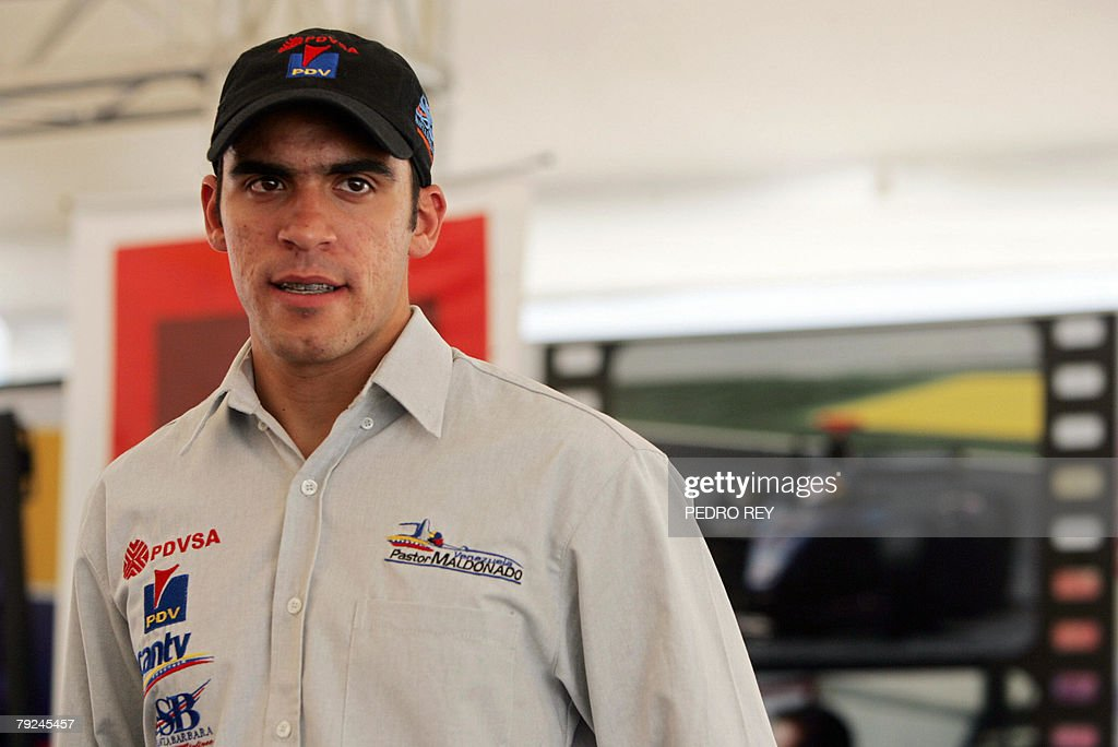 Venezuelan GP2 driver Pastor Maldonado poses for the media during a press conference in Caracas, on January 25th, 2008. Maldonado spoke about the possibilities his new team, Piquet Sports, will offer him in the 2008 season. AFP PHOTO/Pedro REY