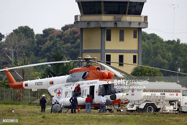 Venezuelan helicopter in service for the International Committee of the Red Cross is refuelled at Jorge Enrique Gonzalez airport in San Jose del...