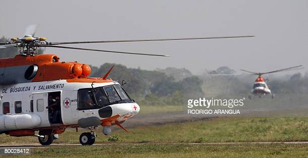 Venezuelan helicopters in service for the International Committee of the Red Cross arrive at Jorge Enrique Gonzalez airport in San Jose del Guaviare,...
