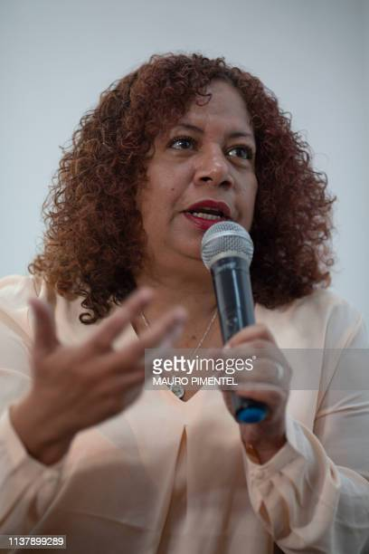 Venezuelan journalist Luz Mely Reyes director of independent website Efecto Cocuyo speaks during a press conference on the 2019 World Press Freedom...