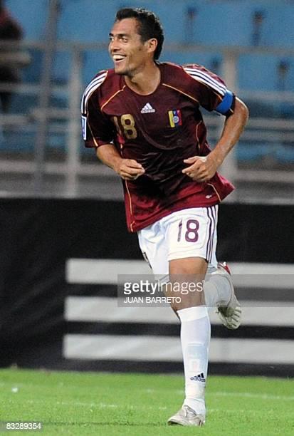 Venezuelan Juan Arango celebrates his goal against Ecuador on October 15 during their FIFA World Cup South Africa 2010 qualifer match at the Jose...