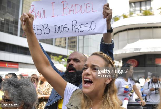 Venezuelan Lilian Tintori wife of the Venezuelan opposition leader Leopoldo Lopez who is currently under house arrest shouts slogans during a protest...
