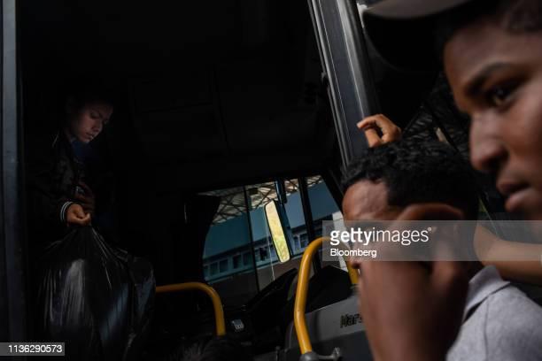 Venezuelan migrants arrive at a bus station near the Venezuelan border in Pacaraima, Brazil, on Wednesday, April 10, 2019. Venezuelan refugees...
