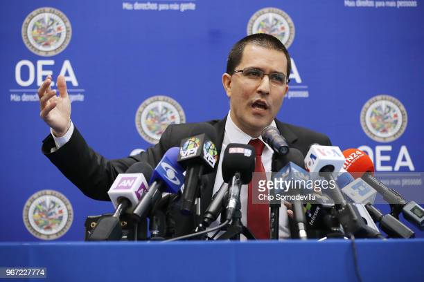 Venezuelan Minister of Foreign Affairs Jorge Arreaza holds a news conference during the Organization of American States' General Assembly meetings...
