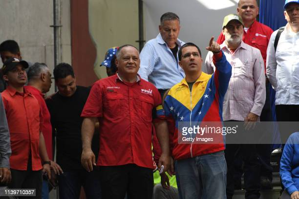 Venezuelan National Constituent Assembly President Diosdado Cabello and Venezuelan Foreign Minister Jorge Arreaza talk during a demonstration to back...