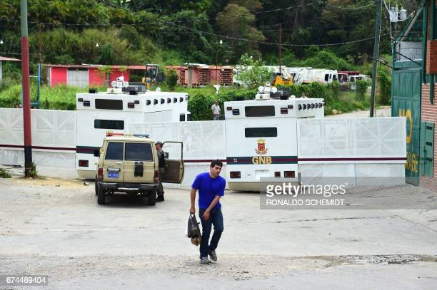 Venezuelan National Guard riot control vehicles block the access to the Ramo Verde prison in Los Teques 30 km east of Caracas where opposition leader...