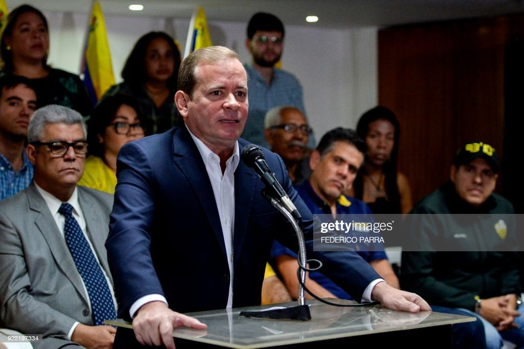 Venezuelan opposition lawmaker and spokesman of the Primero Justicia party Juan Pablo Guanipa offers a press conference in Caracas on February 21, 2018. /