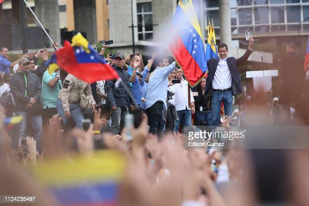 Venezuelan opposition leader and head of the National Assembly Juan Guaido declares self interim president as thousands of people protest against...