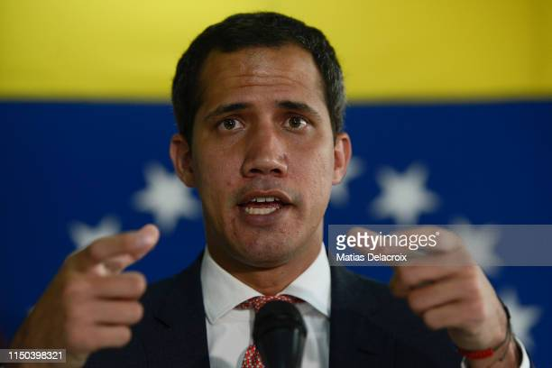 Venezuelan opposition leader and National Assembly Leader Juan Guaido speaks during a press conference with international media at Centro Plaza on...