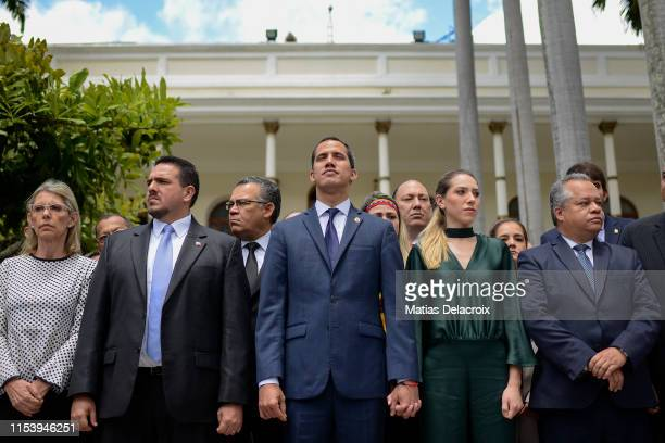Venezuelan opposition leader and president of the National Assembly Juan Guaido , his wife Fabiana Rosales and Venezuelan deputy Stalin Gonzalez...