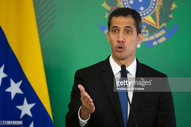 Venezuelan opposition leader and self-declared iterim president Juan Guaido speaks during a press conference at Palace Itamaraty on February 28, 2019...
