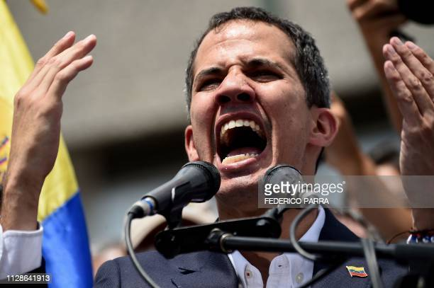 Venezuelan opposition leader and self-proclaimed acting president Juan Guaido speaks during a rally upon his arrival in Caracas on March 4, 2019. -...