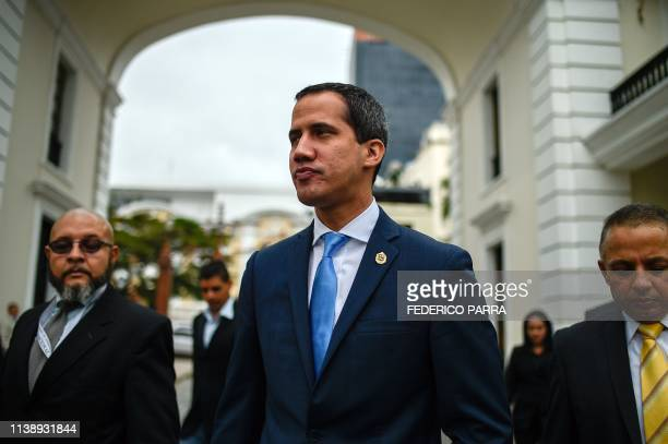 Venezuelan opposition leader and selfproclaimed acting president Juan Guaido arrives for a session at the Venezuelan National Assembly in Caracas on...