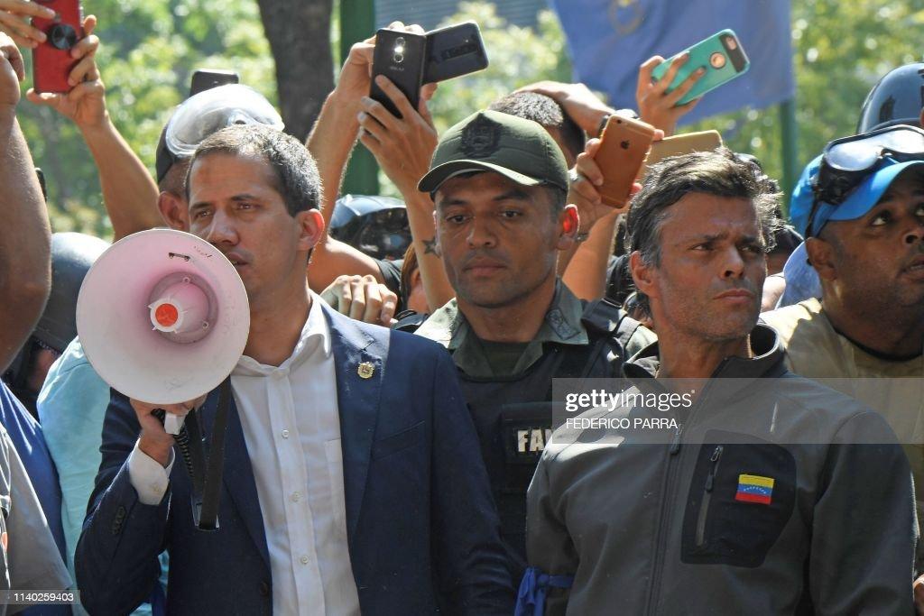 VENEZUELA-CRISIS-CLASHES-GUAIDO-LOPEZ : News Photo