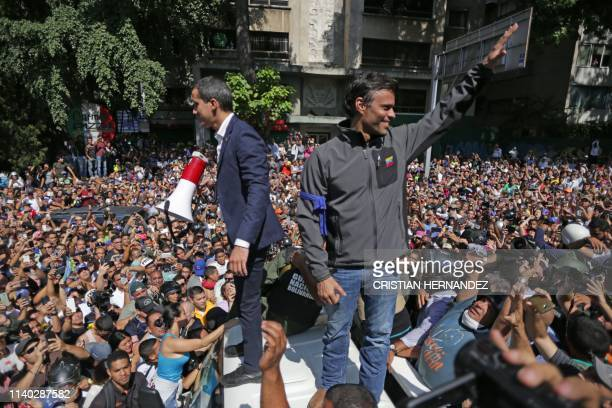 Venezuelan opposition leader and selfproclaimed acting president Juan Guaido and highprofile opposition politician Leopoldo Lopez who had been put...