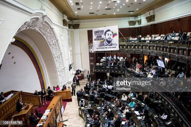 Venezuelan opposition leader and self-proclaimed interim president Juan Guaido attends a session of the Venezuela's National Assembly in Caracas,...