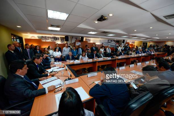 Venezuelan opposition leader and selfproclaimed interim president Juan Guaido presides a consultation commission meeting at the Federal Legislative...