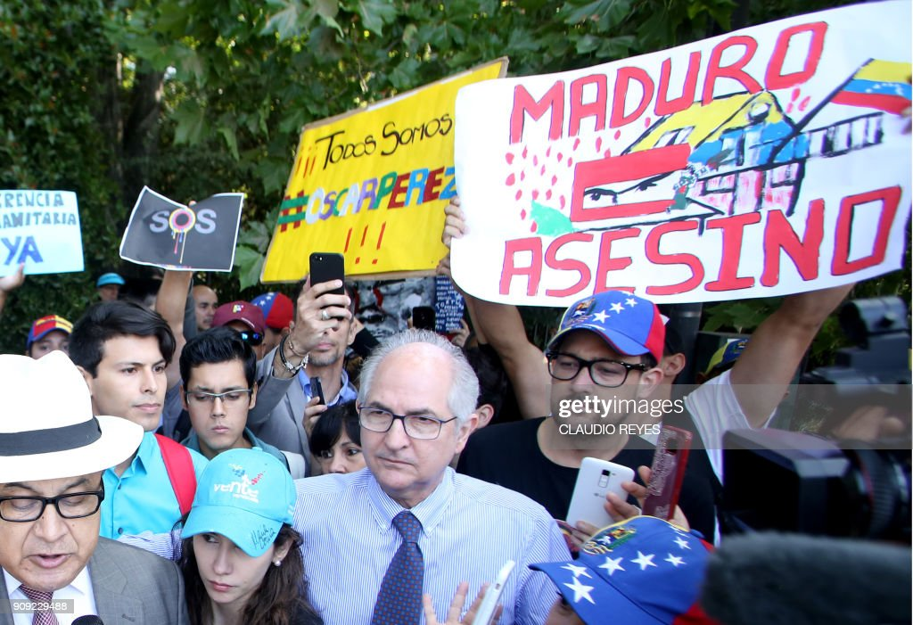 CHILE-LIMA GROUP-MEETING-VENEZUELA-CRISIS-PROTEST : News Photo