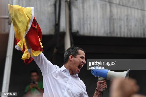 Venezuelan opposition leader Juan Guaidó, recognized by many members of the international community as the country's rightful interim ruler, gives a...