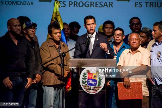 Venezuelan opposition leader Juan Guaidó recognized by many members of the international community as the country's rightful interim ruler gives a...