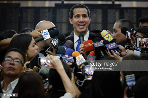 Venezuelan opposition leader Juan Guaidó, recognized by many members of the international community as the country's rightful interim ruler, speaks...